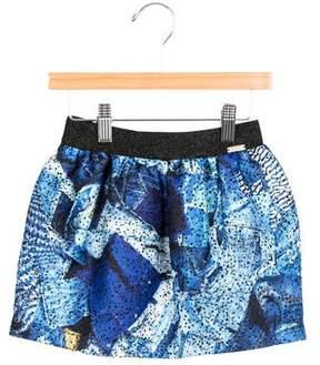 Junior Gaultier Girls' Metallic Denim Printed Skirt w/ Tags