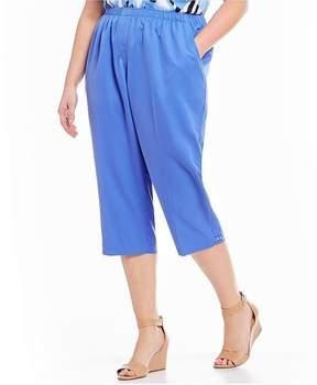 Allison Daley Plus Pull-On Rivet Tab Hem Detail Solid Capri Pants