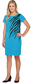 Bob Mackie As Is Bob Mackie's Short Sleeve Zebra Print & Sequin Dress