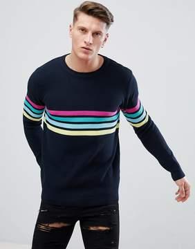 Pull&Bear Multi Color Stripe Sweater In Navy