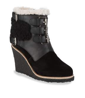 Australia Luxe Collective Women's Monk Strap Shearling Wedge Boots
