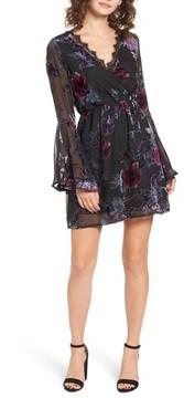 Dee Elly Women's Burnout Velvet Bell Sleeve Dress