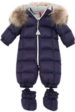 Moncler Denim & Nylon Baby Bunting W/ Fur