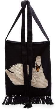 J.W.Anderson Swan-intarsia handmade knit bag