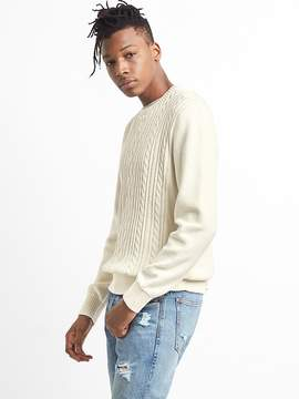 Gap Cable-Knit Pullover Crewneck Sweater in Combed Cotton