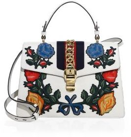 Gucci Sylvie Medium Embroidered Leather Top-Handle Bag - WHITE-MULTI - STYLE