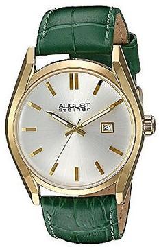 August Steiner Silver Dial Ladies Green Leather Watch