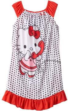Hello Kitty Girls 4-12 Dots Dorm Nightgown