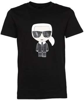 Karl Lagerfeld Men's 572203990 Black Cotton T-shirt.