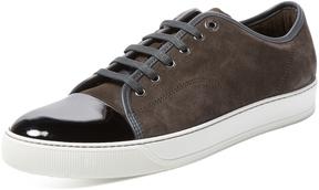 Lanvin Men's Patent Leather & Suede Low Top Sneaker