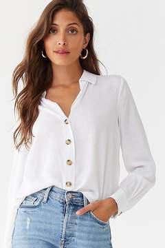 Forever 21 Semi-Sheer Linen-Blend Shirt