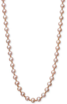 Belle de Mer Pink Cultured Freshwater Pearl (7-1/2mm) and Gold Bead Collar Necklace in 14k Rose Gold