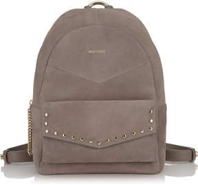 Jimmy Choo CASSIE Dark Grey Suede Backpack with Silver Round Stud Detailing