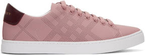 Burberry Pink Perforated Check Albert Sneakers