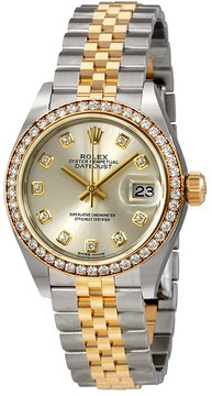 Rolex Lady Datejust Silver Diamond Dial Automatic Watch