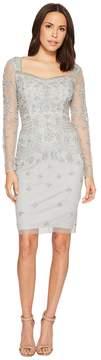 Adrianna Papell Short Beaded Long Sleeve Dress with Sweetheart Neckline Women's Dress