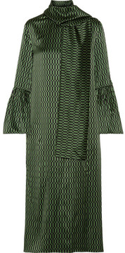 Fendi Chiffon-trimmed Printed Silk-satin Midi Dress - Green