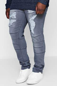 boohoo Big And Tall Skinny Fit Panelled Ripped Jeans