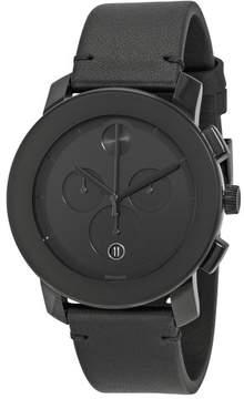 Movado Bold Chronograph Black Dial Black Leather Band Men's Quartz Watch 3600337
