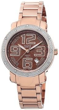 Burgi Rose Gold-tone Stainless Steel Diamond Bezel Ladies Watch