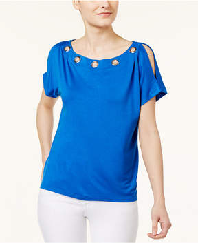 Cable & Gauge Cupio Grommet-Trim Cold-Shoulder T-Shirt