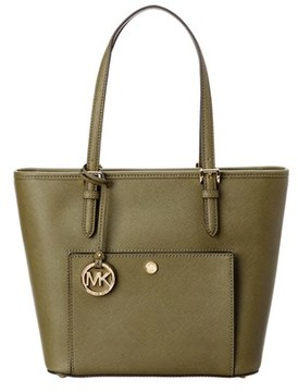 MICHAEL Michael Kors Jet Set Leather Tote. - OLIVE - STYLE