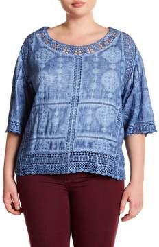 Democracy Crochet Lace Scalloped Top (Plus Size)