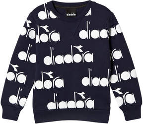 Diadora Navy All-Over Branded Sweater