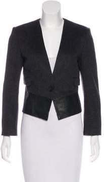 Celine Leather-Paneled Wool Jacket