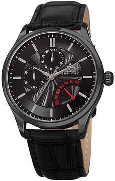 August Steiner Mens Black Strap Watch-As-8209bk