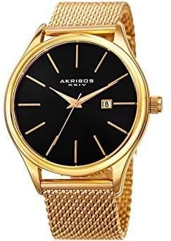 Akribos XXIV Black Dial Gold-Tone Mesh Men's Watch