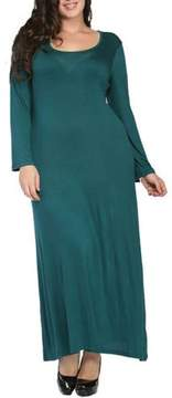 24/7 Comfort Apparel Women's Plus Size Long Sleeve Scoop Neck Maxi