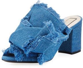No.21 No. 21 Frayed Denim Block-Heel Mule Sandal, Blue