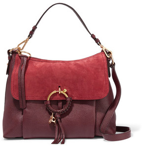 See by Chloé - Joan Medium Suede-paneled Leather Shoulder Bag - Burgundy