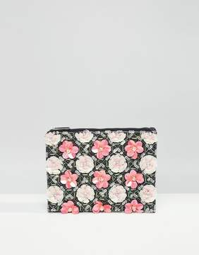 Asos Grid Floral Zip Top Clutch Bag