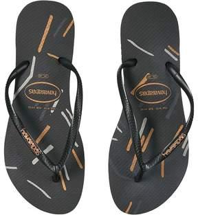 Havaianas Slim Logo Metallic Fine Lines Flip Flops Women's Sandals