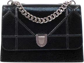 Christian Dior Shoulder Bag Diorama Textured Cannage Silver-Tone Black