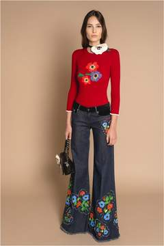 Sonia Rykiel Wool Intarsia Flower Jumper