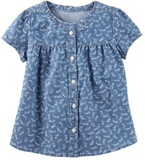 Osh Kosh Toddler Girl Button Front Floral Chambray Blouse Top