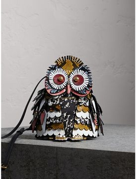 Burberry The Owl - Calf Suede and Calf Hair Crossbody Bag