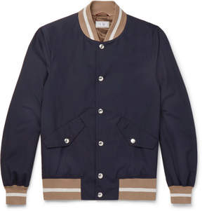Brunello Cucinelli Contrast Ribbed Cotton Bomber Jacket