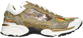 Roberto Cavalli Iridescent & Glittered Leather Sneakers
