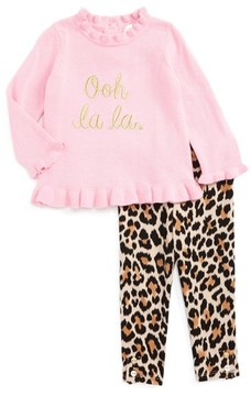 Kate Spade Infant Girl's Ooh La La Embroidered Sweater & Leopard Print Leggings Set