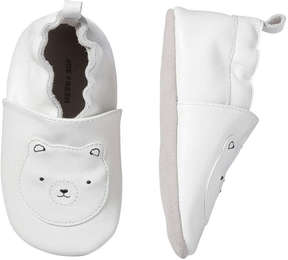 Joe Fresh Baby Girls' White Bear Print Leather Slip Ons, White (Size M)