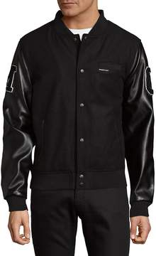 Members Only Men's Patched Button-Front Varsity Jacket