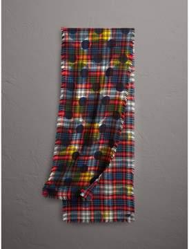 Burberry Dot Print Tartan Wool Scarf