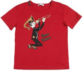 Dolce & Gabbana Saxophone Patch Cotton Jersey T-Shirt