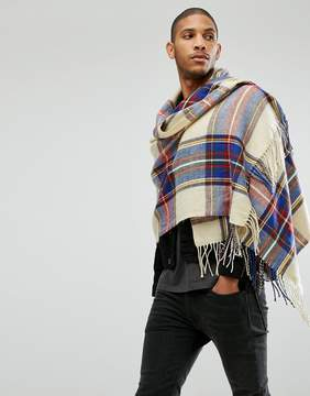 Asos Blanket Scarf In Cream Plaid