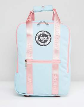 Hype Tote Backpack in Blue With Pink Straps
