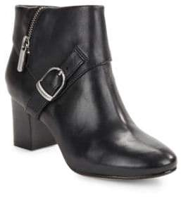 Taryn Rose Leather Buckle Ankle Boots